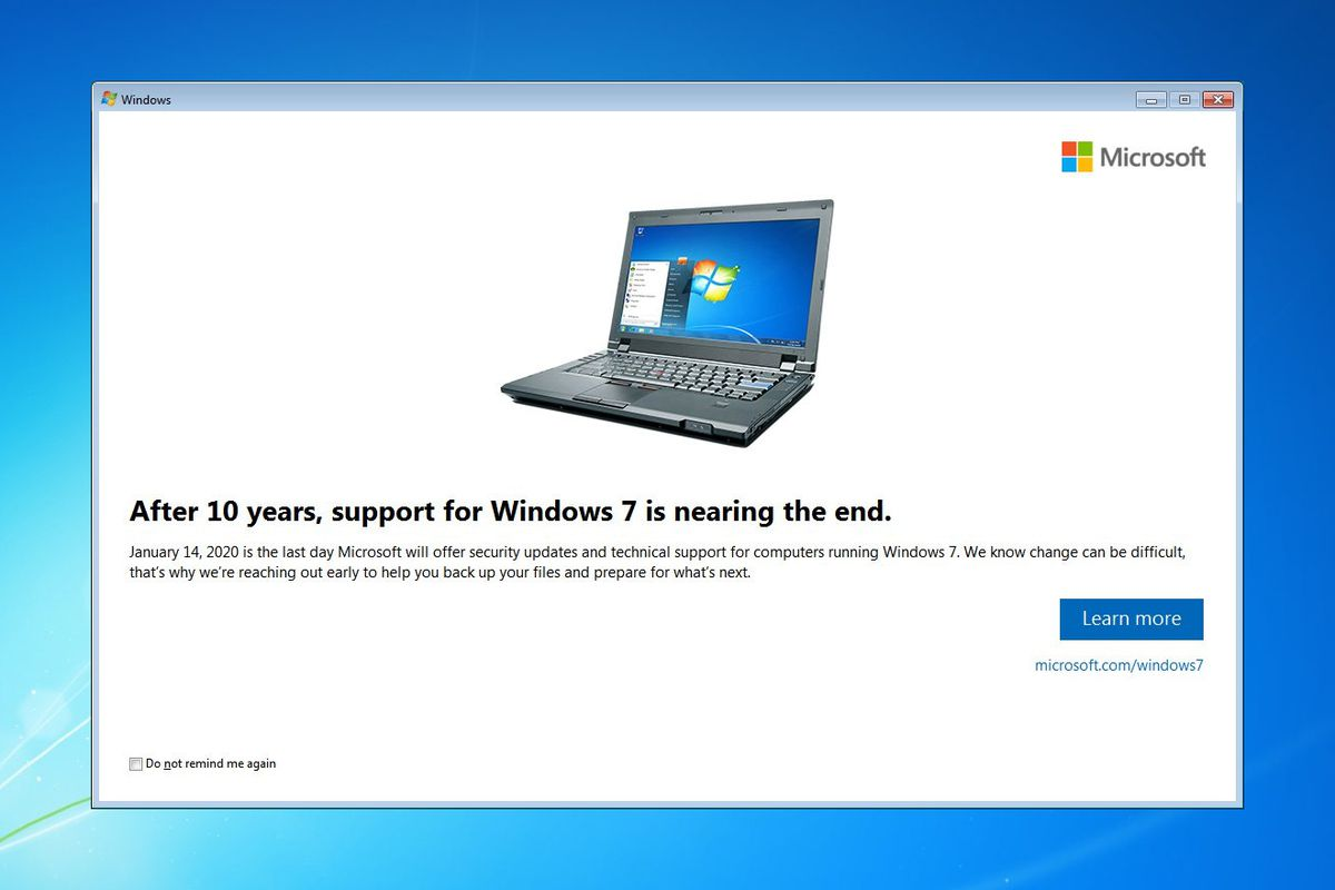 Microsoft starts notifying Windows 7 users that it's time to buy a new PC